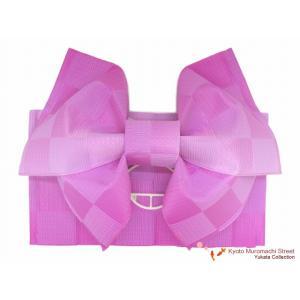 浴衣帯 市松柄の浴衣用作り帯「薄紫ぼかし」MIB208|kyoto-muromachi-st