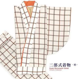 二部式着物 洗える着物 袷 小紋柄の着物 Lサイズ「白系、格子」NBL1652|kyoto-muromachi-st