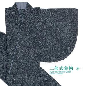 夏の二部式着物 洗える着物 紗 小紋柄の着物 Lサイズ「黒系、小紋アラカルト」NBL252|kyoto-muromachi-st