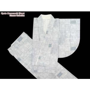 洗える二部式着物*小紋 袷 Lサイズ「グレー、変り市松」NBL260|kyoto-muromachi-st
