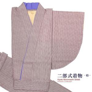 二部式着物 洗える着物 袷 小紋柄の着物 Mサイズ「エンジ系、縞」NBM1648|kyoto-muromachi-st