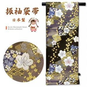 袋帯 振袖用 成人式に 華やかな袋帯 六通 仕立て上がり「黒系 桜と絵札」NFO517|kyoto-muromachi-st