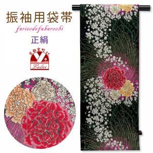 袋帯 振袖用 正絹 成人式に 華やかな袋帯 六通 仕立て上がり「黒地 唐草に大輪の華」NFO659|kyoto-muromachi-st