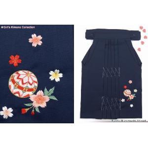 七五三着物 卒園 入学式に 国産の高級刺繍袴 3歳女の子用 紺、鞠と桜 osk3|kyoto-muromachi-st
