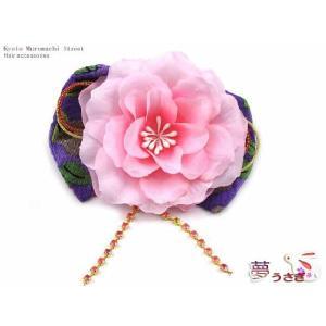 子供 髪飾り 夢うさぎ★子供着物用 手作りのリボン髪飾り 紫、ピンクフラワーとラインストーン OUM536|kyoto-muromachi-st