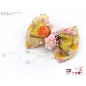 """子供髪飾り """"夢うさぎ""""手作りのリボン髪飾り「イエローうさぎさんとチョコケーキ」OUM559 kyoto-muromachi-st"""