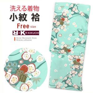 着物 単品 洗える着物 袷 小紋 RKブランドの着物 フリーサイズ「ミント 梅に流水」RKA2816|kyoto-muromachi-st