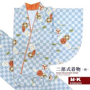 二部式着物 洗える着物 袷 小紋 RKブランドのきもの フリーサイズ「水色 市松」RKNb4833|kyoto-muromachi-st