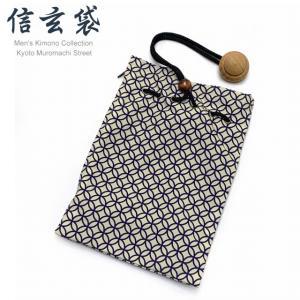 信玄袋 巾着袋 メンズ 和柄の男性用信玄袋(合繊)「生成り系、七宝」SGBb-880|kyoto-muromachi-st