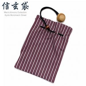 信玄袋 巾着袋 メンズ 和柄の男性用信玄袋(合繊)「エンジ系、そろばん柄」SGBb-885|kyoto-muromachi-st