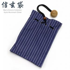 信玄袋 巾着袋 メンズ 和柄の男性用信玄袋(合繊)「紺系、桧垣柄」SGBb-886|kyoto-muromachi-st