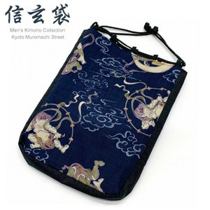 信玄袋 粋な和柄の男性用信玄袋 合財袋「紺系、風神雷神」SGBb-888|kyoto-muromachi-st