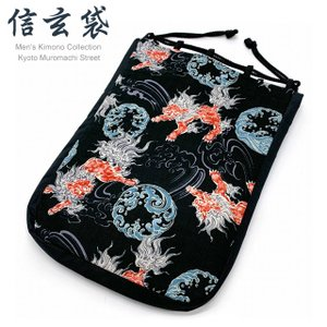 信玄袋 粋な和柄の男性用信玄袋 合財袋「黒系、唐獅子」SGBb-889|kyoto-muromachi-st