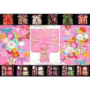 七五三 着物 7歳女の子 正絹のお祝い着物 桃、牡丹と笹 と小物選べるフルセットSMB834set|kyoto-muromachi-st