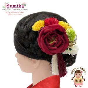 髪飾り 成人式 手作り sumika アートフラワー 髪飾り 4点セット「赤 ローズ」SMK1003|kyoto-muromachi-st