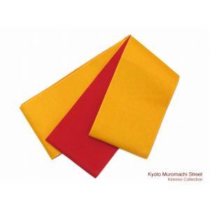 子供浴衣帯 女の子用の無地リバーシブル帯 平帯「赤&黄色」TJT35yr|kyoto-muromachi-st