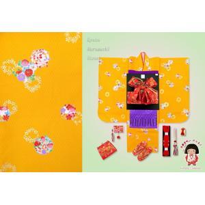 七五三 3歳 三つ身の子供着物フルセット(合繊)「山吹 牡丹と菊に花輪」TMK804r3RRMM|kyoto-muromachi-st