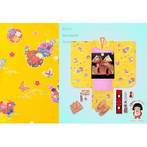 七五三 3歳 三つ身の子供着物フルセット(合繊)「黄色 牡丹に雪輪」TMK806r3PPPP|kyoto-muromachi-st