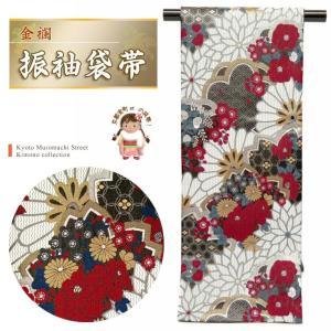 袋帯 振袖 帯 全通柄 華やかな柄の袋帯(合繊) 仕立て上がり「黒地 菊と梅に桜牡丹」TPF314|kyoto-muromachi-st