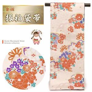 袋帯 振袖 帯 全通柄 華やかな柄の袋帯(合繊) 仕立て上がり「アイボリー 牡丹に菊」TPF318|kyoto-muromachi-st