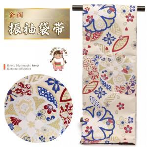 袋帯 振袖 帯 全通柄 華やかな柄の袋帯(合繊) 仕立て上がり「アイボリー 桜」TPF319|kyoto-muromachi-st