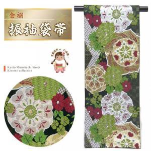 袋帯 振袖 帯 全通柄 華やかな柄の袋帯(合繊) 仕立て上がり「黒 華紋に牡丹」TPF323|kyoto-muromachi-st