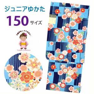 浴衣 子供 レトロ 古典柄 女の子 150 こども浴衣 ジュニアサイズ「青系、格子に菊・桜」TSGYbj-15-28 kyoto-muromachi-st