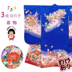 【アウトレット品 訳あり】七五三 着物 3歳 女の子 絵羽柄の三ツ身の子供着物 襦袢付き「青、花車」TTK813|kyoto-muromachi-st