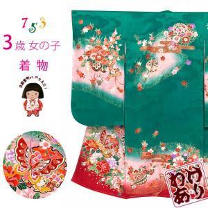 【アウトレット品 少し訳あり】七五三 着物 3歳 女の子 絵羽柄の三ツ身の子供着物 襦袢付き「緑、雪輪に蝶」TTK816|kyoto-muromachi-st