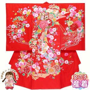 お宮参り 着物 女の子 産着 赤ちゃんのお祝い着 初着 正絹「赤 牡丹に御所車」TUG392|kyoto-muromachi-st