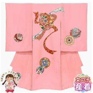 お宮参り 着物 女の子 産着 赤ちゃんのお祝い着 初着 正絹「ピンク 牡丹に鼓」TUG396|kyoto-muromachi-st