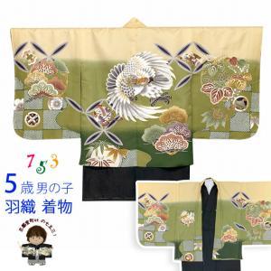 七五三 5歳 男の子 Sサイズ 数え5歳(4歳)向け 刺繍入り羽織 着物のアンサンブル 合繊「クリーム&抹茶、鷹」TWG-k504m|kyoto-muromachi-st
