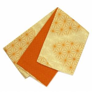 浴衣帯 レディース ゆかた帯 小袋帯 半幅帯 リバーシブル「ベージュ 麻の葉」TYO375|kyoto-muromachi-st