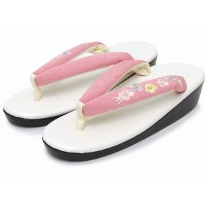 Sサイズ レディース 草履 (適応 21cm-22.5cm位) 日本製 刺繍鼻緒のウレタンソール「ピンク系 桜」TZS157|kyoto-muromachi-st