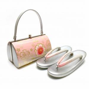 草履バッグセット 成人式 お正月 振袖に 和装バッグセット LLサイズ「ピンクx銀、桜と雪輪」ZBLL568|kyoto-muromachi-st