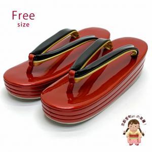 女性用草履 三枚芯草履 シンプルな無地草履 ヒール5.5cm フリーサイズ 礼装向け「赤x黒」ZOF719|kyoto-muromachi-st