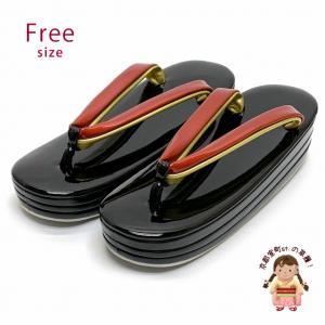 女性用草履 三枚芯草履 シンプルな無地草履 ヒール5.5cm フリーサイズ 礼装向け「黒x赤」ZOF720|kyoto-muromachi-st