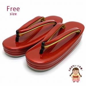 女性用草履 三枚芯草履 シンプルな無地草履 ヒール5.5cm フリーサイズ 礼装向け「赤」ZOF722|kyoto-muromachi-st
