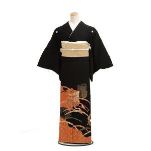 留袖レンタル4180御所車(黒留袖 レンタル)結婚式 留袖レ...