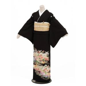 留袖レンタル4272紫ぼかし四季花(黒留袖 レンタル)結婚式...