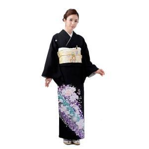 留袖レンタル5305バラ銀(黒留袖 レンタル)結婚式 留袖レ...