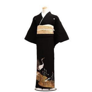 留袖レンタル6063流水に鶴(黒留袖 レンタル)結婚式 留袖...
