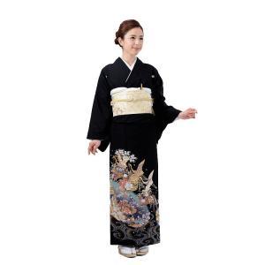 留袖レンタル6084鶴花かご平安調(黒留袖 レンタル)結婚式...