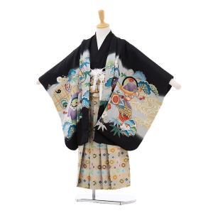 七五三着物レンタル(5歳男の子袴)5170黒地かぶとに巻物白...