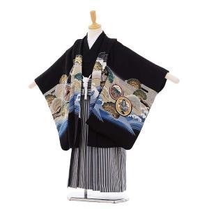 七五三 レンタル 5歳 着物(5歳男袴)5277 黒地 波に兜 (着物正絹)...