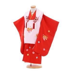 七五三着物レンタル(3歳女の子被布)3253正絹ピンク×赤梅まり