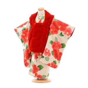 七五三着物レンタル(3歳女の子被布)3255赤ベルベット×白...