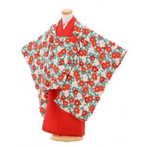 七五三着物レンタル(3歳女の子被布)3283レトロクリーム椿×赤