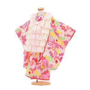 七五三着物レンタル(3歳女の子被布)3302seiko白フリル×ピンクケーキ