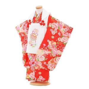 七五三着物レンタル(3歳女の子被布)3306白鈴×赤鼓に花
